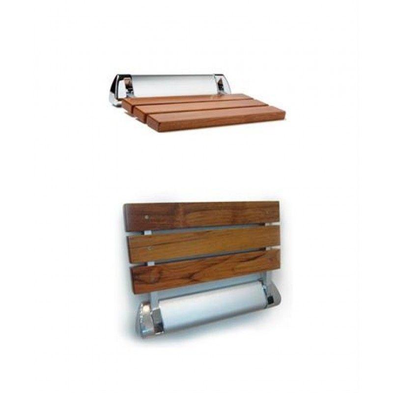 Relax Wood Shower Seat   Teak Slatted Fold Up Seat With Chrome/satin Finish.