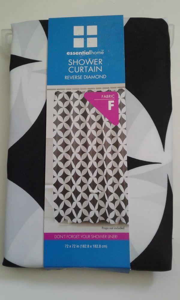 Essential Home Reverse Diamond Black White Fabric Shower Curtain 72 X