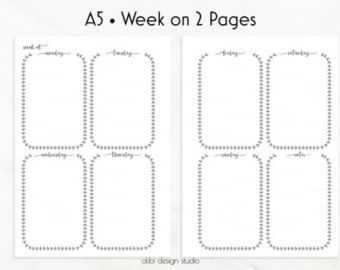 Planner Inserts A5 Week on 2 Pages / Weekly by