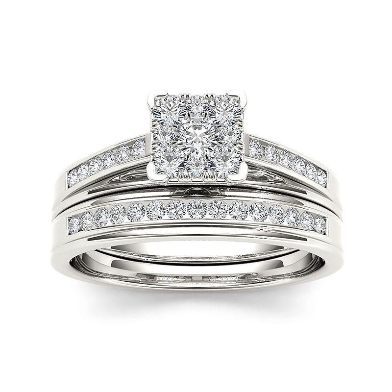 12 ct tw diamond 10k white gold bridal ring set