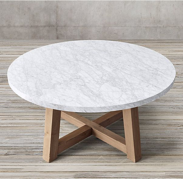 Rh S Salvaged Wood Marble Beam Round Dining Table Our Pairs A 2 Thick Top With The Natural Beauty Of Solid Pine Timbers From