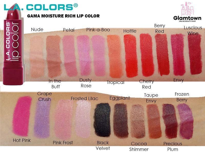 Swatches Of The La Colors Cosmetics Moisture Rich Lipstick La