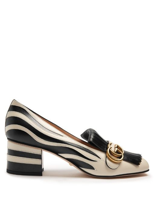 33fd2e381f58 GUCCI Marmont fringed zebra-appliqué leather loafers.  gucci  shoes  flats