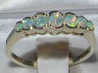 Solid 9K White Gold  Natural Fiery Opal Contemporary StyleEternity Band Ring