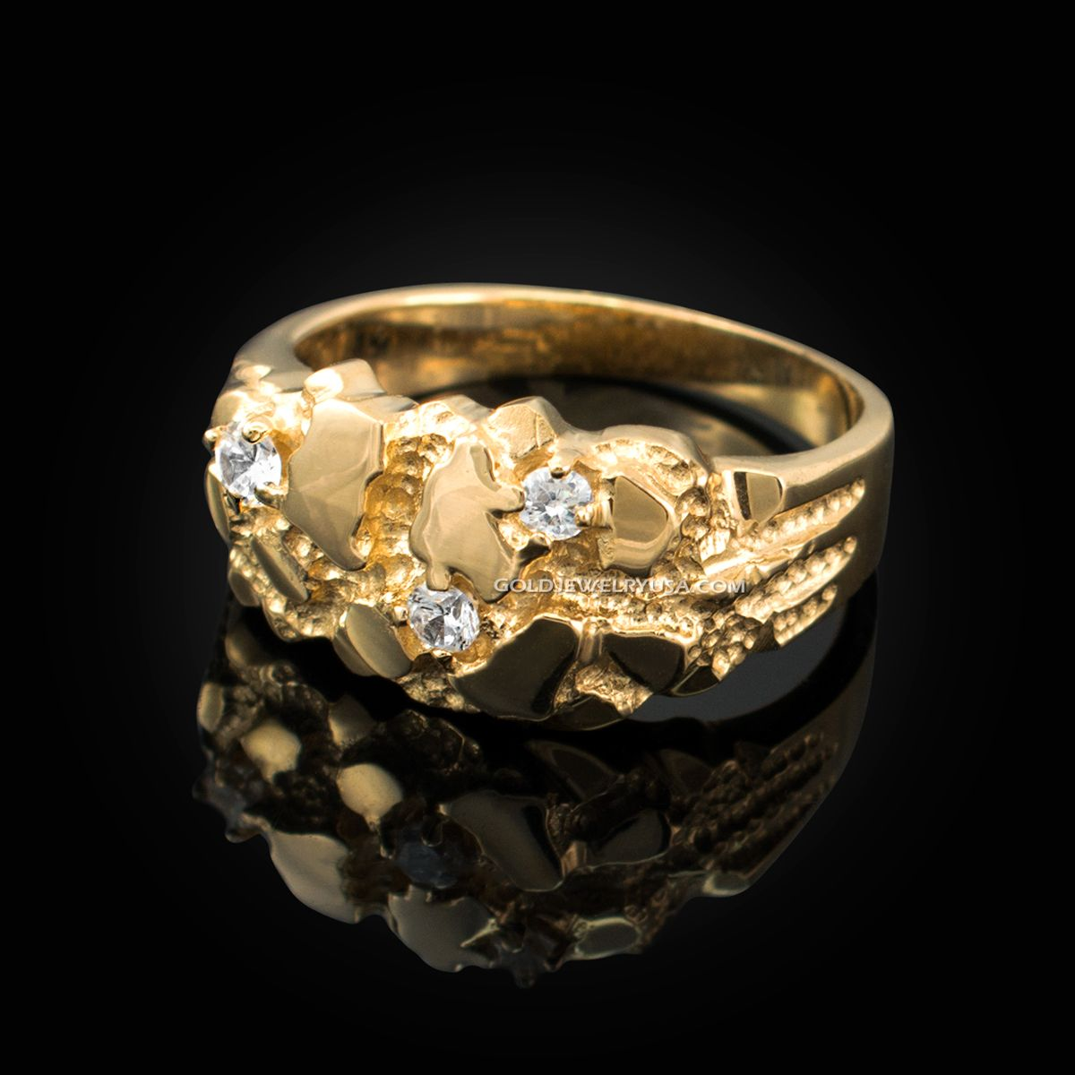 Yellow Gold Elegant Cz Nugget Ring Gold Nugget Ring Mens Gold Rings Black Jewelry Rings