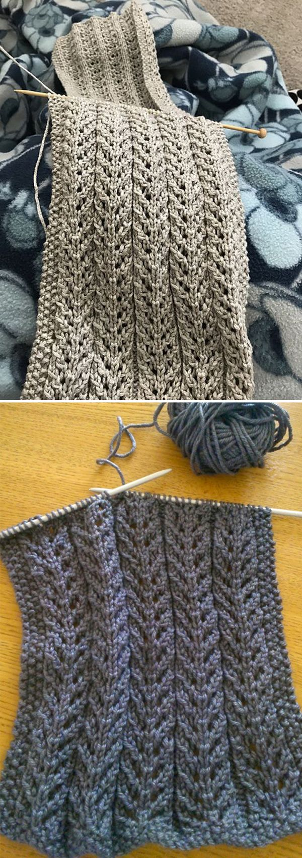Birch Trees Scarf - Free Pattern  #freeknittingpatterns