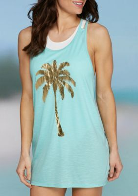 f94b6da8c2 Miken Women s Palm Tree Strappy Back Swim Tank Cover Up - Aruba Blue ...