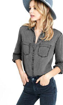 6e49d3a1ec red silky soft twill boyfriend shirt from EXPRESS Denim Shirt