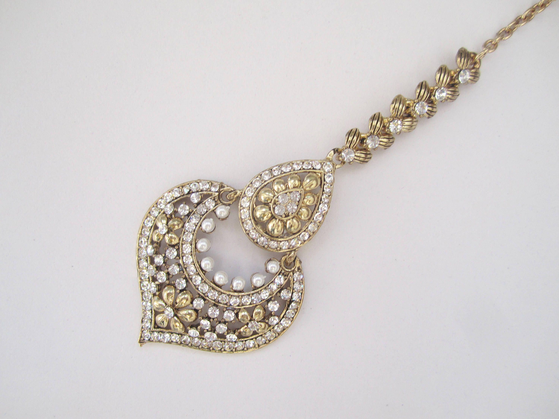 Gold Crystals Wedding Tikka Antique Crystals Headpiece Tikka