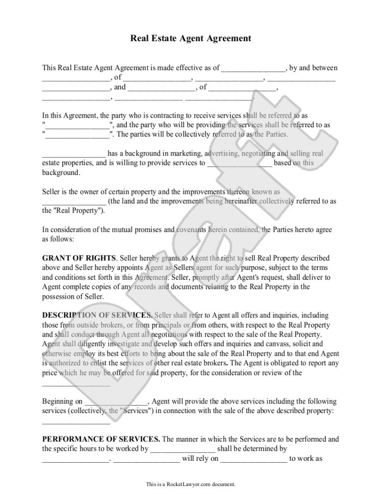Sample Real Estate Agent Agreement Form Template Education In For