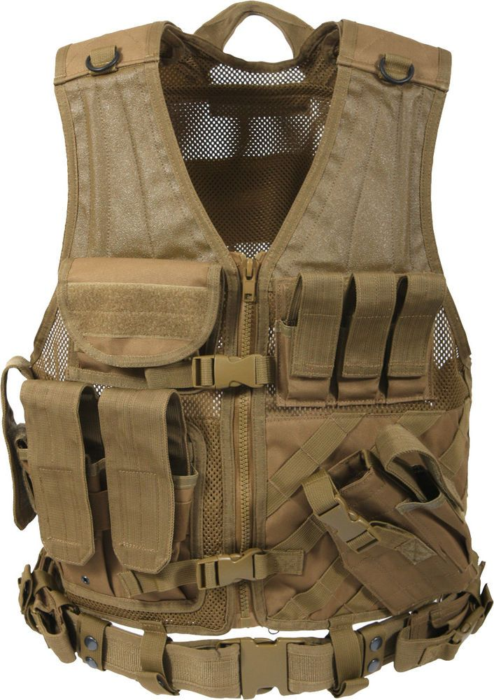 Coyote Oversized Military Tactical MOLLE Cross Draw Adjustable Vest  (2XL 3XL)  Rothco  Vest 437b3066811