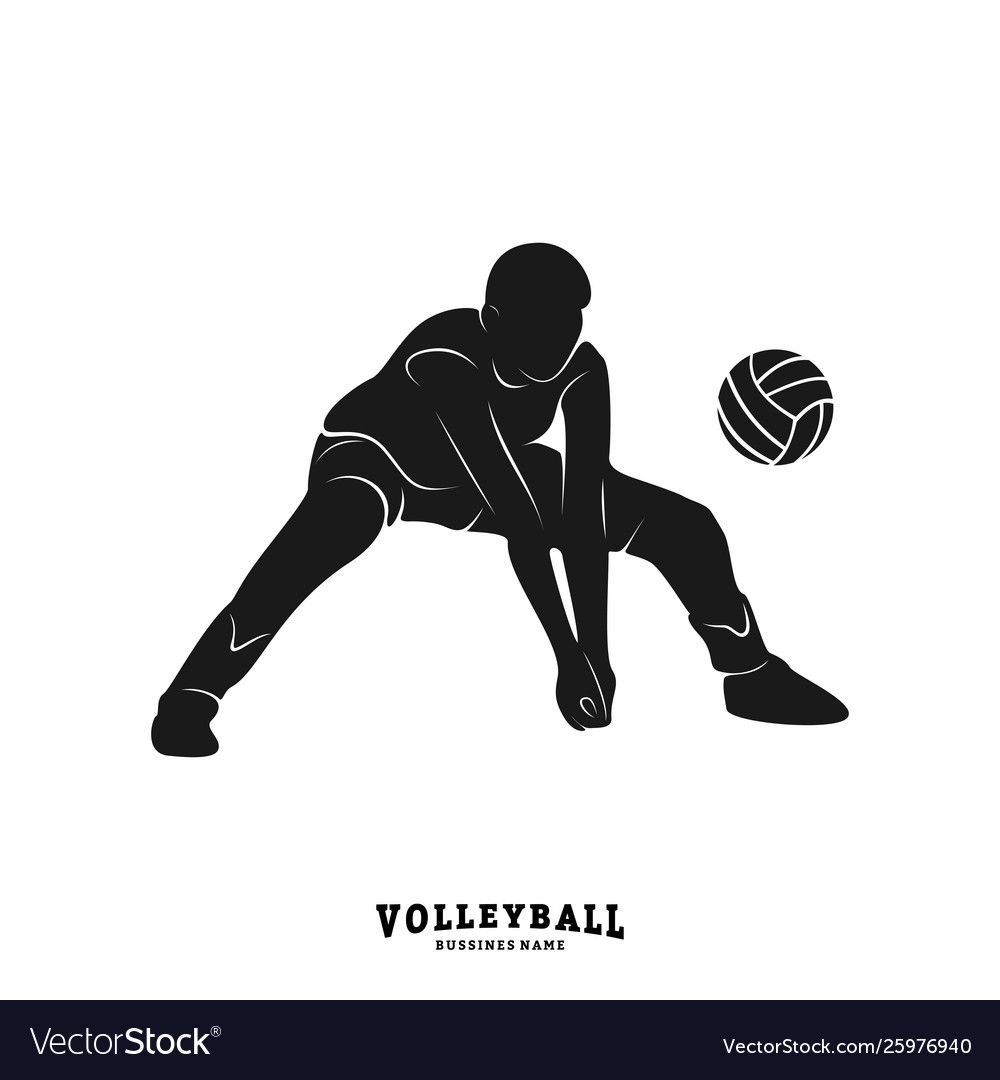 Volleyball Player Silhouette Volleyball Player Vector Image On Com Imagens Desenho De Volei Volei
