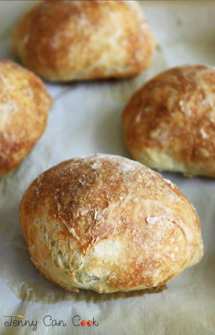 No Knead Crusty Rolls - Jenny Can Cook | Recipe in 2020 ...