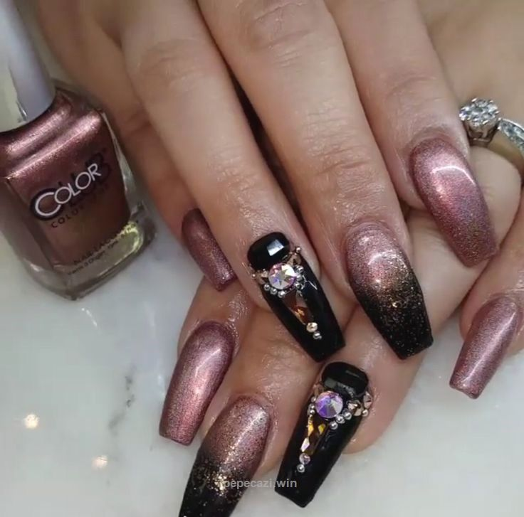 rose gold and black nail design