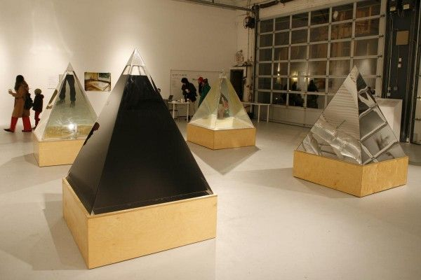 Agnes Denes. Pyramids of Conscience, 2005. Crude oil, tap water (City of New York), polluted water (New York harbor), the mirror, in which y...