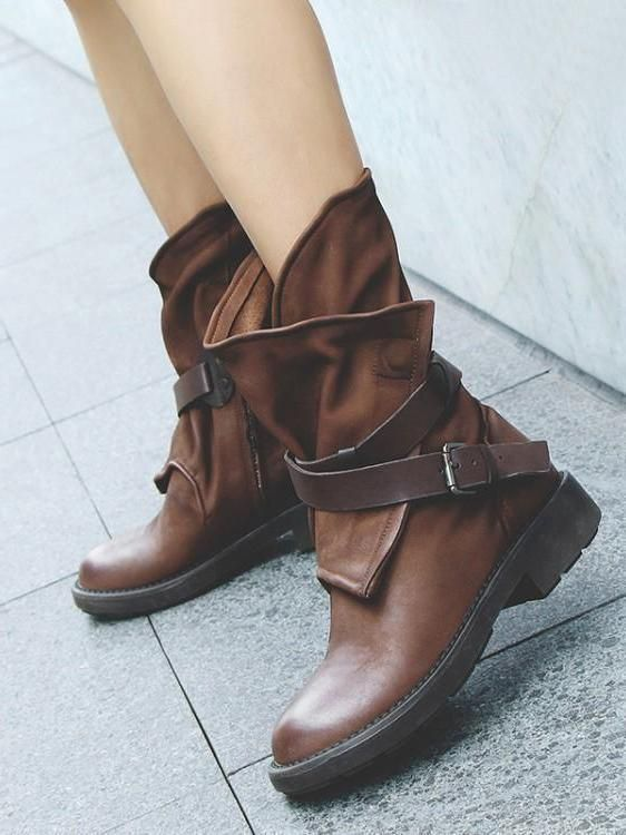 46b0868943c7 Vintage Low-heel Bandage Boots Shoes
