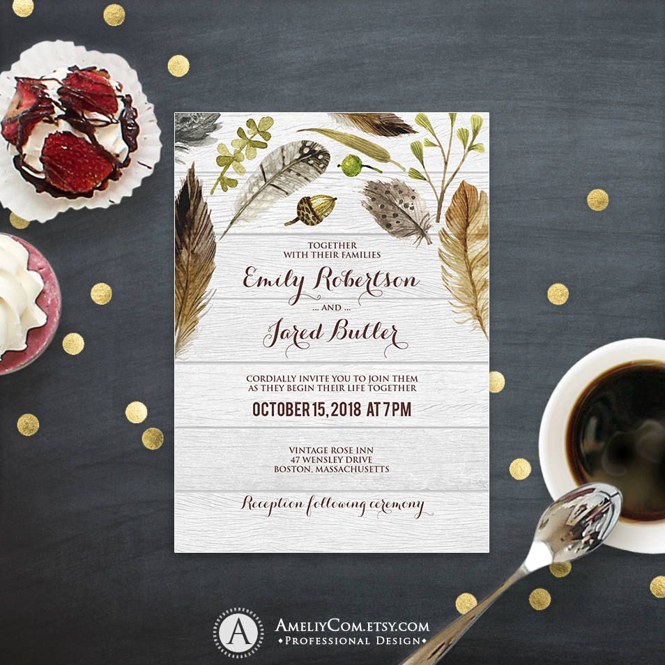 Rustic Wedding Invitation Template Printable Fall Watercolor Wedding ...