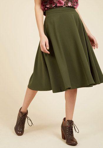 Bugle Joy Midi Skirt in Olive in 3X