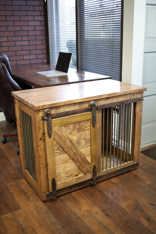 Rustic Dog Crate Sliding Barn Door Fully Custom Dog Etsy Diy Dog Crate Custom Dog Crate Dog Crate Furniture