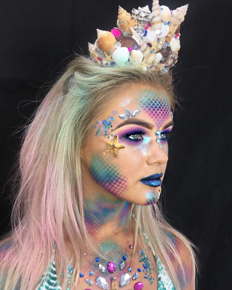 499 Likes 9 Comments Rachel Bourne Makeup Artist Rachbournemakeupx On Instagram More Of My M Mermaid Makeup Halloween Makeup Mermaid Halloween Costumes