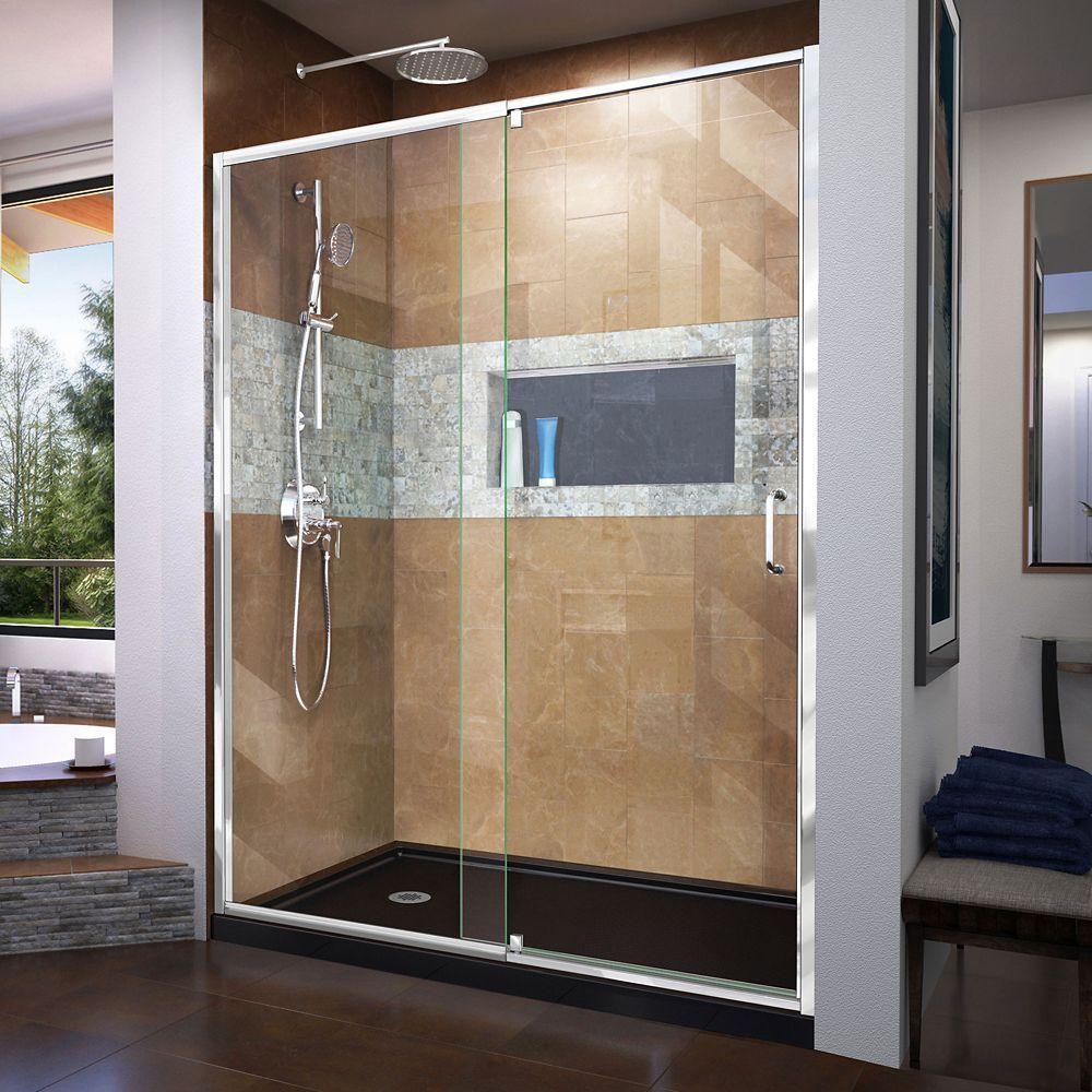 Flex 32 inch D x 60 inch W x 74 3/4 inch H Shower Door in Chrome ...