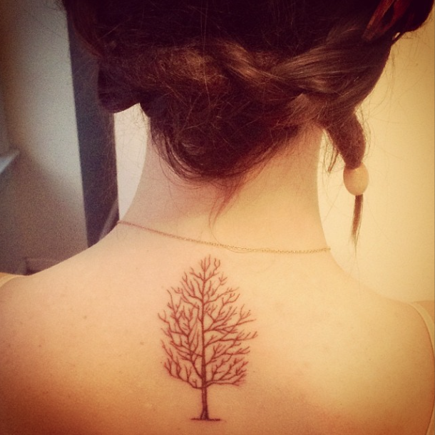 brown ink, tree tattoo