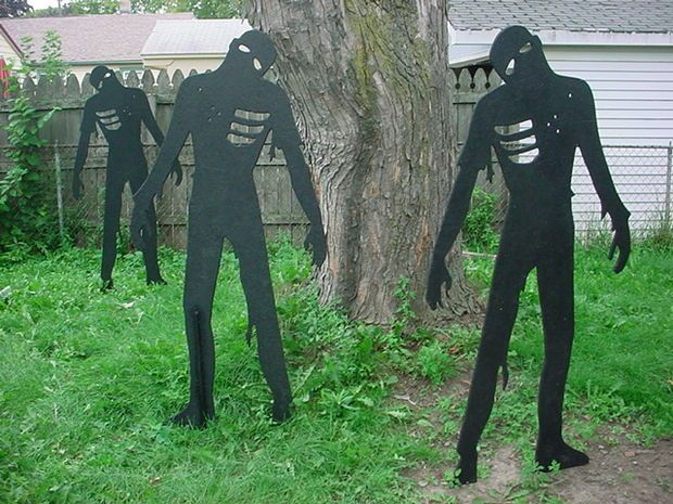 Yard Zombies For Halloween Paintball Silhouettes Zombie Apocalypse Party