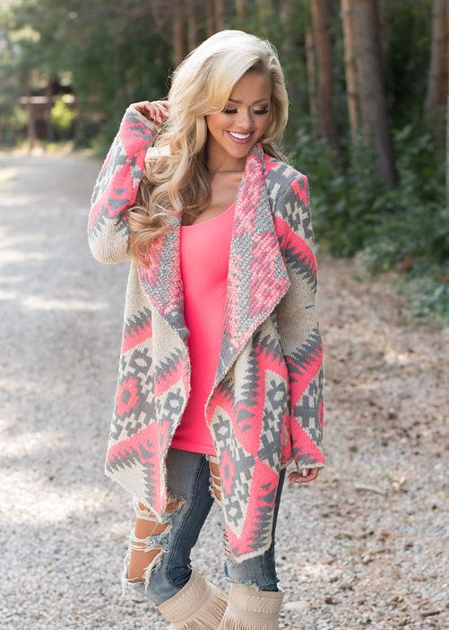 b0d2f5753eda3 Delighted Pink Aztec Sweater - Modern Vintage Boutique