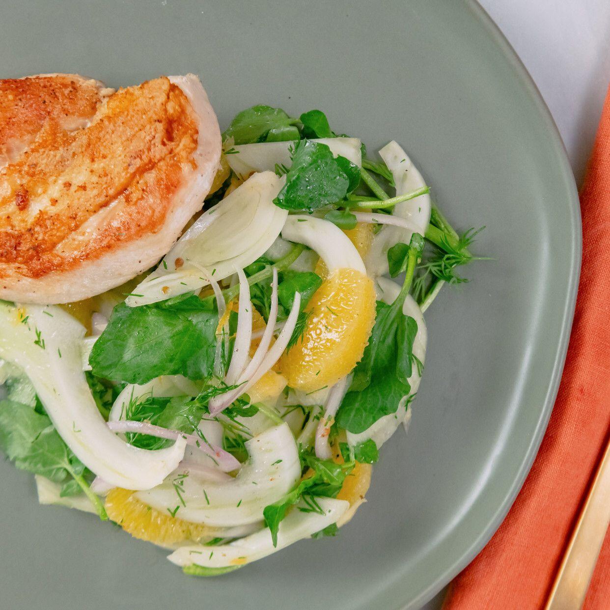 Grilled Chicken Paillard With Shaved Fennel Salad Recipe Fennel Salad Chicken Paillard Grilled Chicken