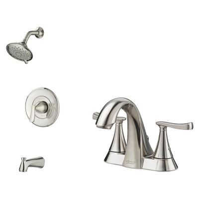 American Standard Chatfield Single Handle 3 Spray Tub And Shower Faucet And 4 In Centerset Bathroom Faucet Set In Brushed Nickel Chatts4csbn Bnd Tub Shower Faucets Shower Faucet Shower Tub