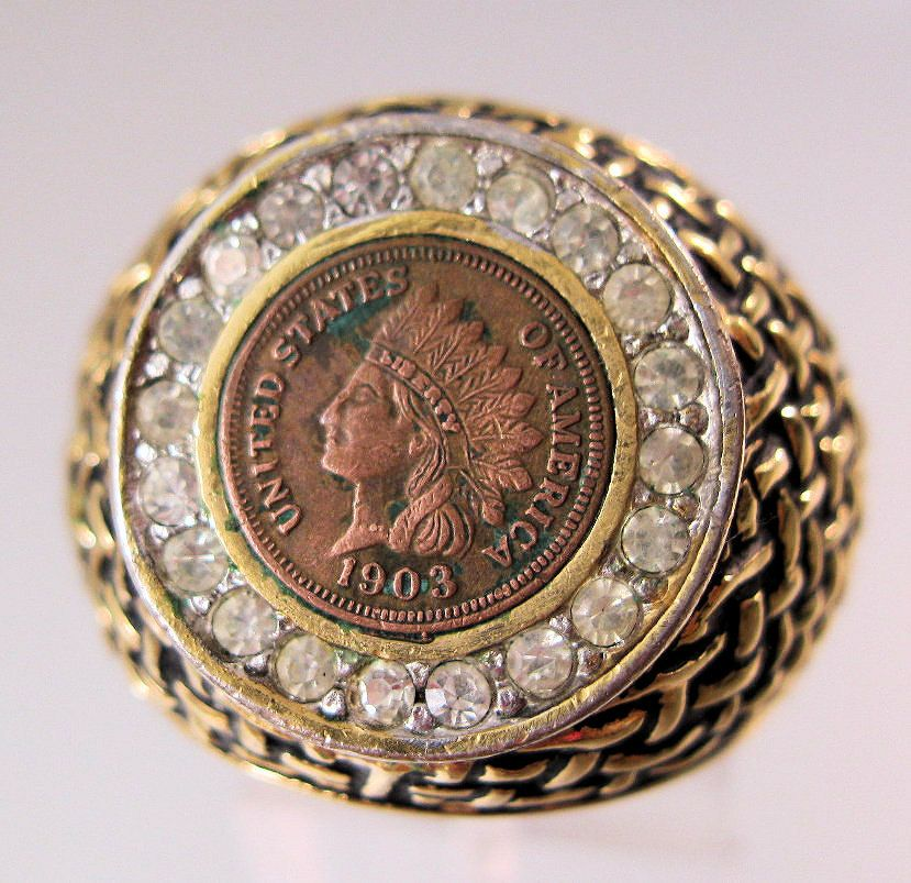 $49 00 Vintage Men s 1903 Indian Head Penny Ring 18K HGE Size 10