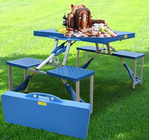 Outsunny Folding Picnic Table Chair Outdoor Seating Portable Bench Blue Http