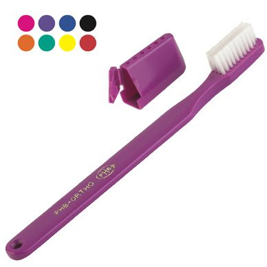 PHB Ortho Brush: (66¢ each, Min. Quantity 72).  Capped V-Trim brush with #softer outer #bristles to aid in cleaning #orthodontic appliances. May be personalized. #600221.  http://www.prophyperfect.com/customize/  #ortho #toothbrush #dentist #RDH