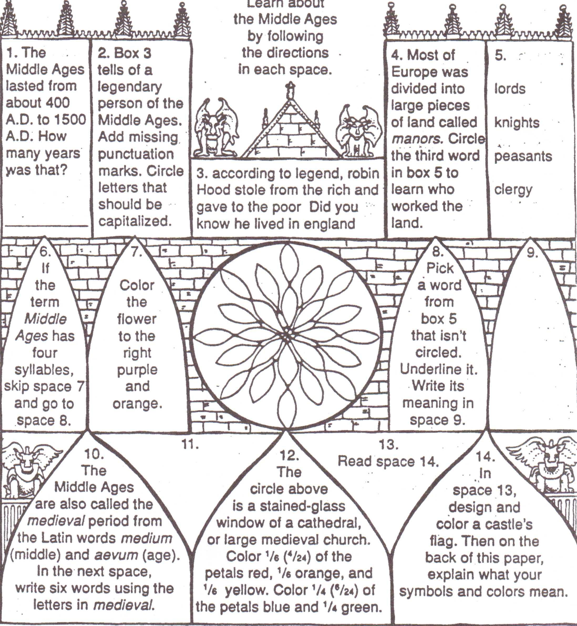 Middle Ages For Kids Worksheets The Middle Ages Middle