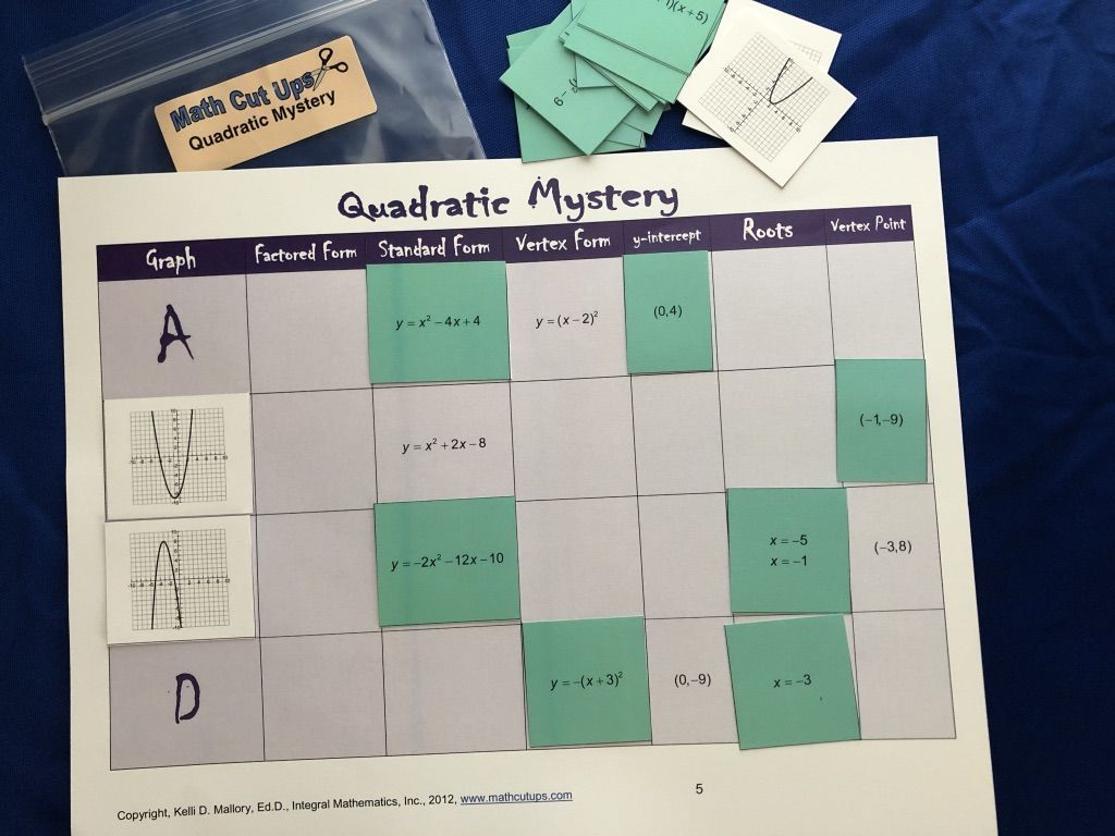 Quadratic Mystery Students Work As A Group Toyze The