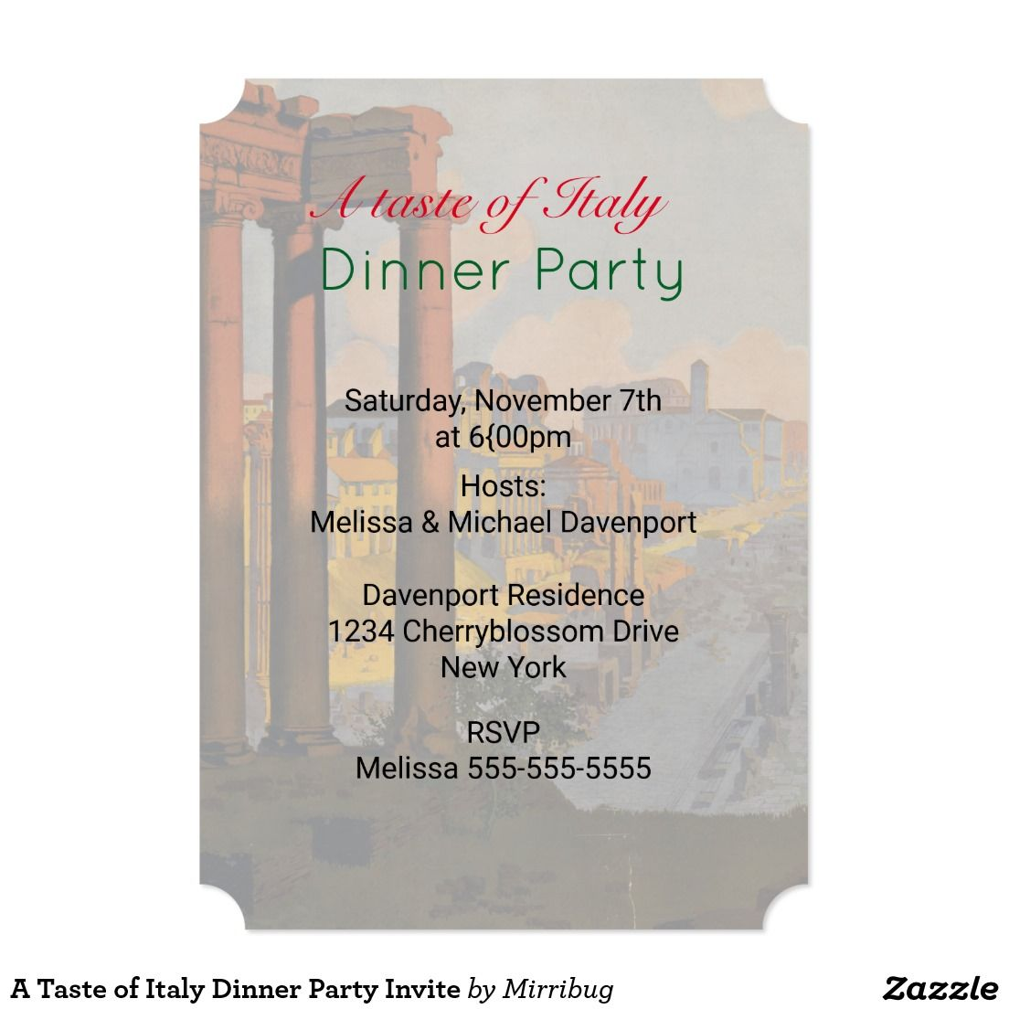 A taste of italy dinner party invite zazzle invitations a taste of italy dinner party invite monicamarmolfo Choice Image
