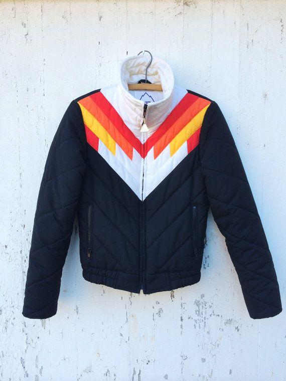 70s Puffy Ski Jacket Chevron Striped Black Red By Huntedfinds Ski Jacket Ski Fashion Womens Snow Jackets Women