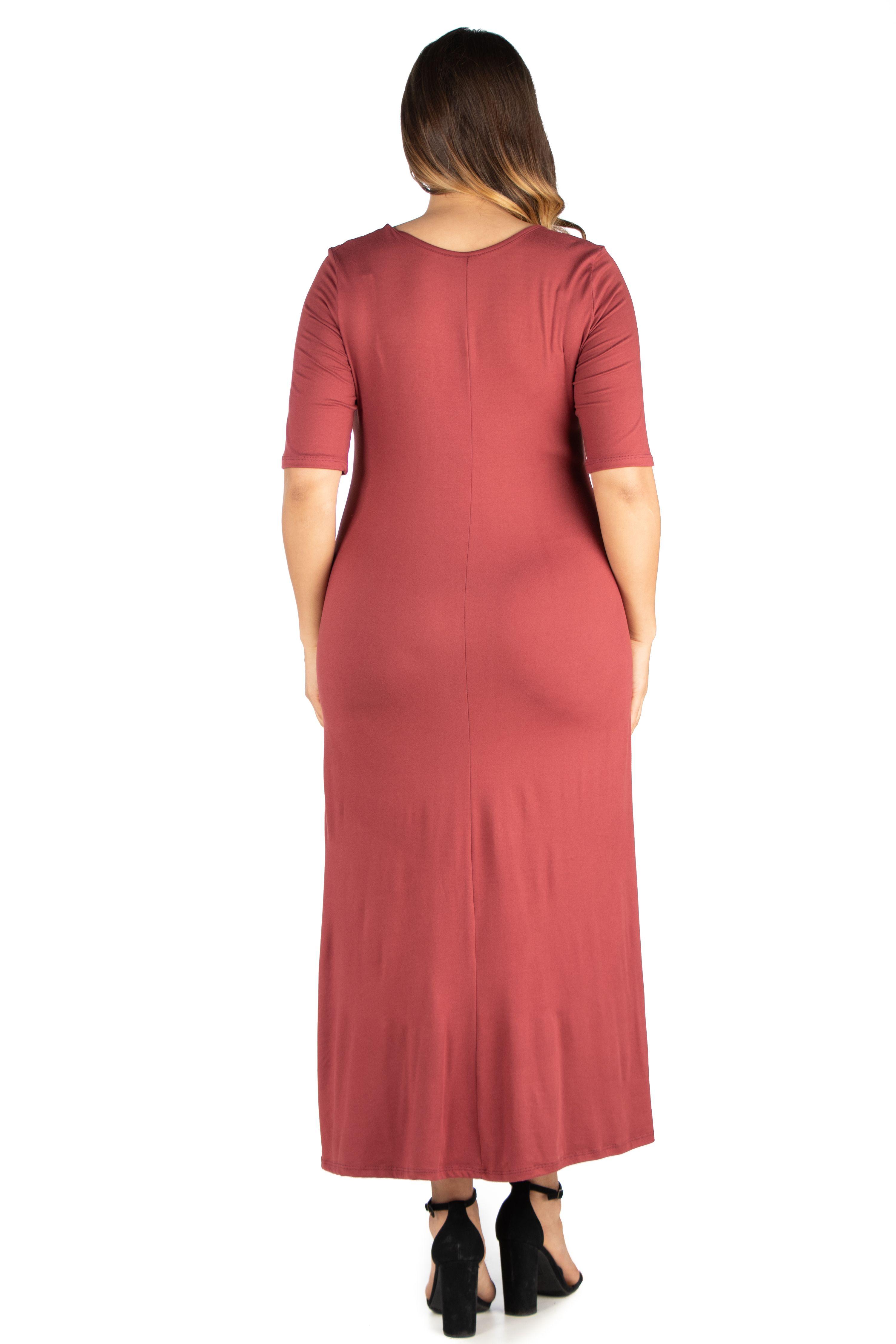 24 7 Comfort Apparel 24 7 Women S Plus Size Comfort Apparel Elbow Length Sleeve Plus Size Maxi Dress Walmart Com Plus Size Maxi Dresses Maxi Dress With Sleeves Maxi Dress [ 4500 x 3000 Pixel ]