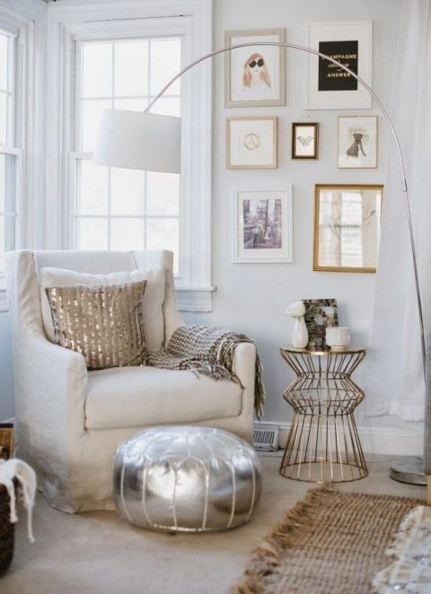 A metallic pouf, a jute rug, a wire side table, an angular gallery wall — one peek at all this fun stuff (in complimentary neutral hues), and you barely see the bland carpeting that lies beneath. See more at Style Within Reach »