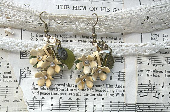 winter floral assemblage earrings enamel flower by lilyofthevally