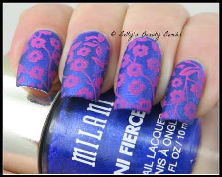 http://www.bettysbeautybombs.com/2015/03/31/pink-and-blue-flowers-nail-art/ / Milani Fierce Foils stamped with MDU