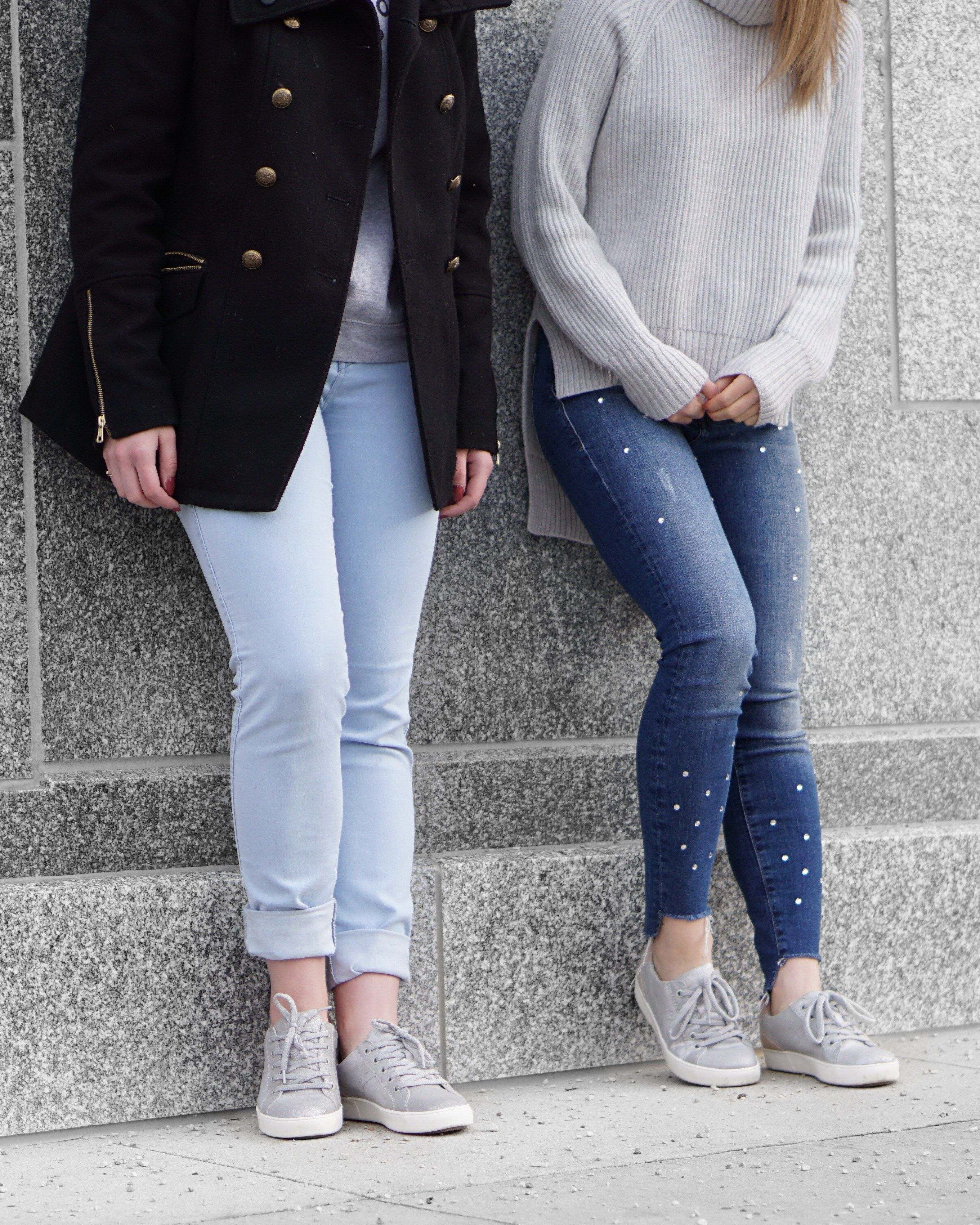 A Little Detail - Metallic Sneakers & Naturalizer BFF Sale!!! // #outfit #fashion #springfashion #silversneakers #metallicsneakers #girls #cute #bestfriends