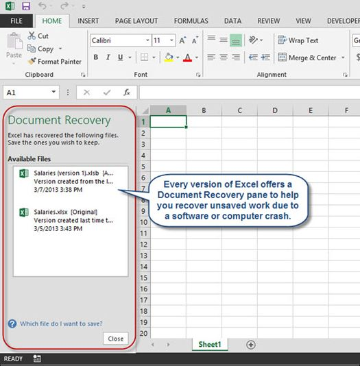 Recovering Unsaved Excel Workbooks Workbook Excel Recover