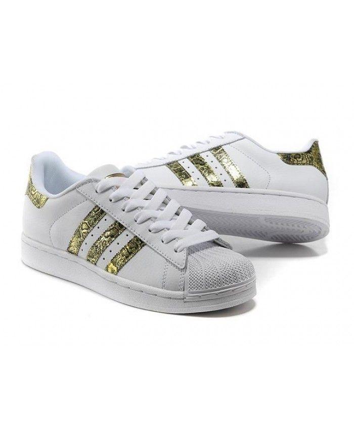 a7d836ced83e2 Adidas Superstar Junior White Metallic Yellow Trainers   adidas ...