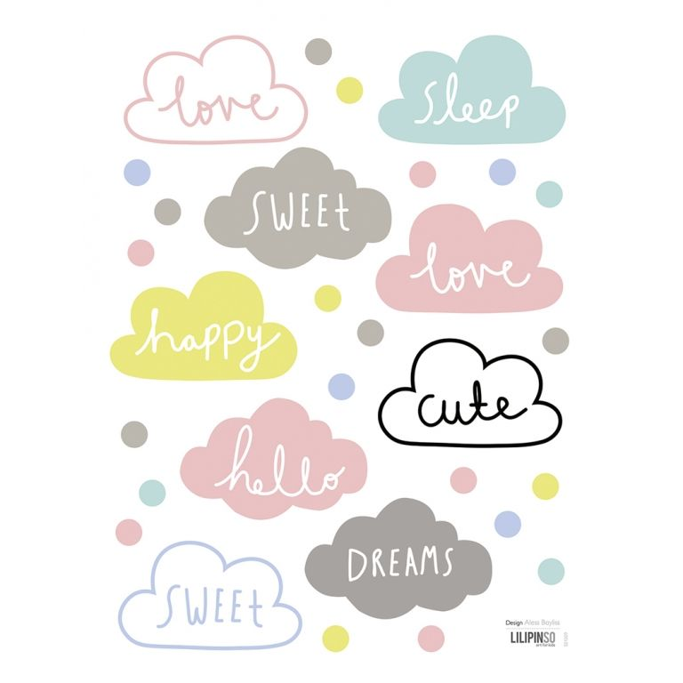 wandsticker set 39 wolken botschaften 39 bunt pastell in 2018 baby world pinterest. Black Bedroom Furniture Sets. Home Design Ideas