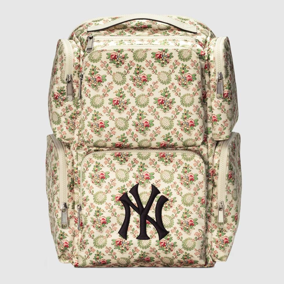 6be436e9541 Shop the Large backpack with NY Yankees™ patch by Gucci. Inspired by the  Creative Director s New York Yankees baseball hat