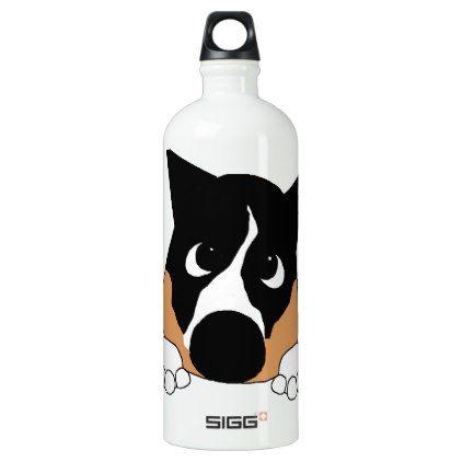 peeking basenji black tan and white aluminum water bottle - white gifts elegant diy gift ideas