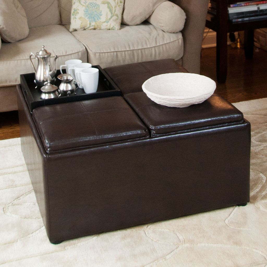 Square Black Leather Ottoman Coffee Table Tables Furniture