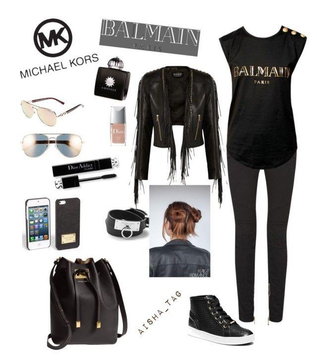 """✳️"" by aisha-tag ❤ liked on Polyvore featuring beauty, Balmain, Michael Kors, MICHAEL Michael Kors, AMOUAGE and Christian Dior"