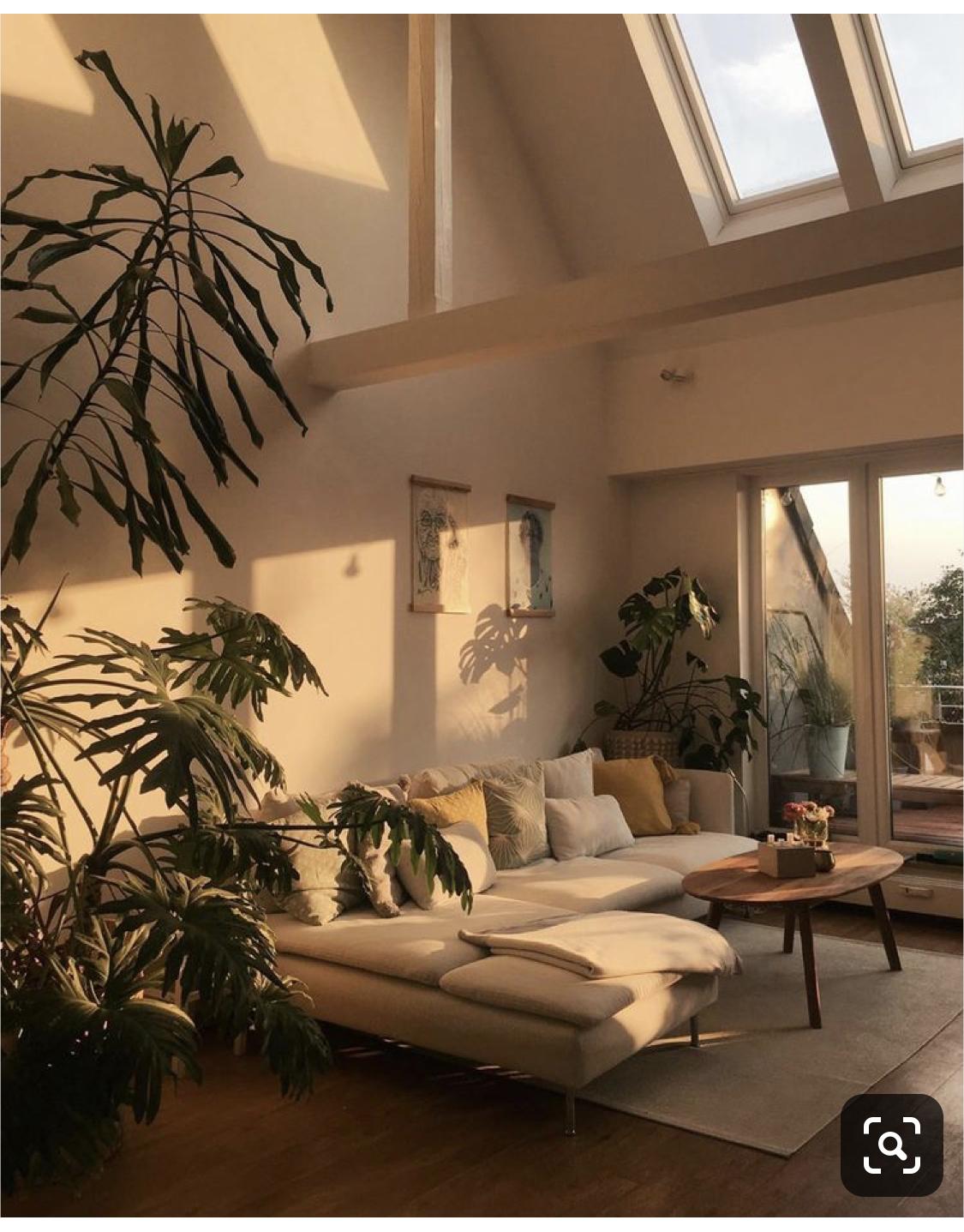 Oversized plants; lots of cushions; neutral colors #décosalleàmanger